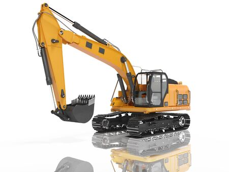 Construction equipment one bucket excavator with hydraulic mechpatoy on metal driven tracked 3d render on white background with shadow