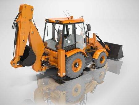 Construction equipment excavator loader with bucket at the base of the tractor rear view 3d render on gray background without shadow