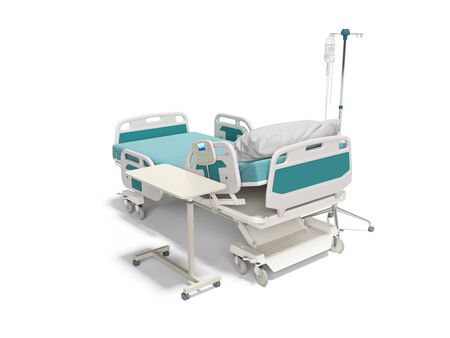 Concept hospital bed semi automatic with dropper 3d render on white background with shadow