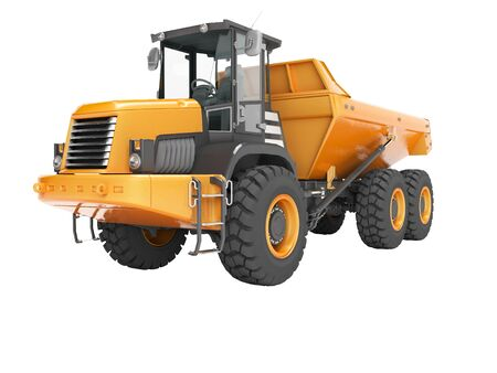 Construction equipment orange dump trucks with articulated frame isolated 3d render on white background no shadow