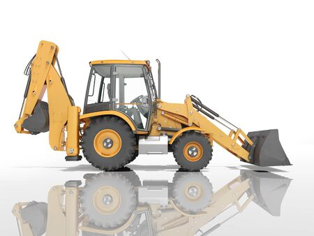 Construction equipment excavator loader with jaw bucket at the base of the tractor left view 3d render on white background with shadow
