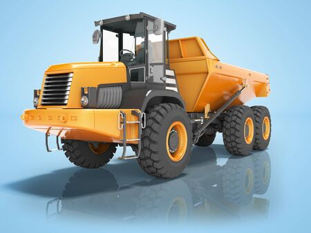 Construction equipment orange dump trucks with articulated frame isolated 3d render on blue background with shadow Stock Photo
