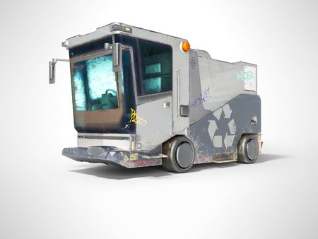 Concept modern garbage truck for city front view 3d render on gray background with shadow Standard-Bild