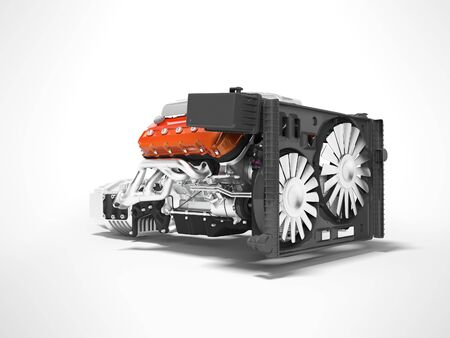 Car engine for eight cylinders red assembled collector and gearbox radiator side view 3d render isolated on gray background with shadow Stockfoto