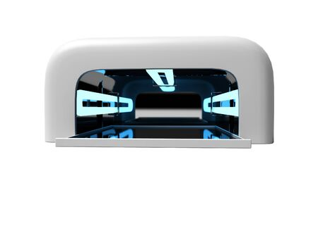Modern UV lamp for nail art 3d render on white background no shadow