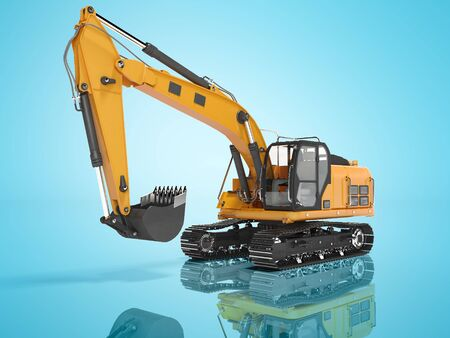 Construction equipment one bucket excavator with hydraulic mechpatoy on metal driven tracked 3d render on blue background with shadow