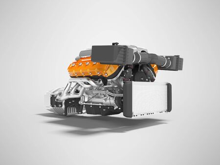 Car engine for eight cylinders red assembled with air filters collector and gearbox radiator 3d render on gray background with shadow Stockfoto