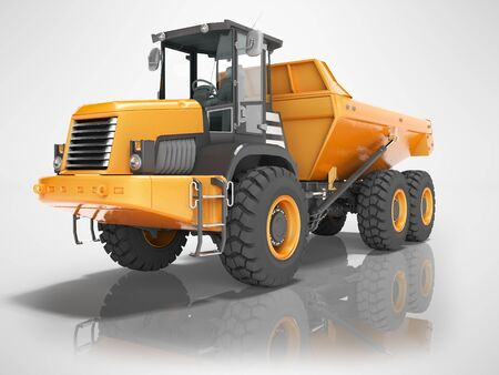 Construction equipment orange dump trucks with articulated frame isolated 3d render on gray background with shadow Stock Photo