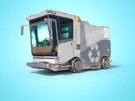 Concept modern garbage truck for city front view 3d render on blue background with shadow