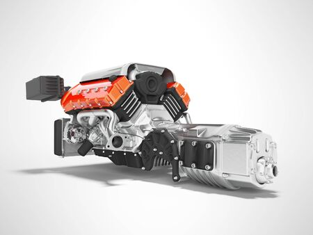 Car engine with air filters and manifold gearbox 3d render on gray background with shadow