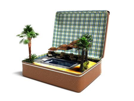 Concept summer vacation in leather suitcase swimming pool beach umbrellas palm trees perspective 3d render on white background with shadow