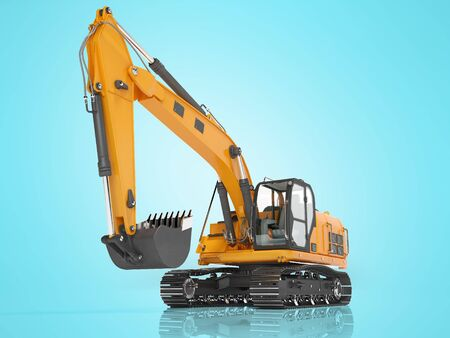 Orange single bucket excavator with hydraulic mechpatoy on metal driven track 3D render on blue background with shadow