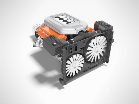 Car engine for eight cylinders red assembled with air filters collector and gearbox radiator 3d render isolated on gray background with shadow Stockfoto