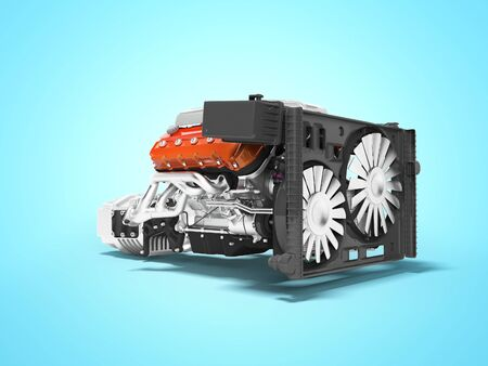 Car engine for eight cylinders red assembled collector and gearbox radiator side view 3d render isolated on blue background with shadow Stockfoto