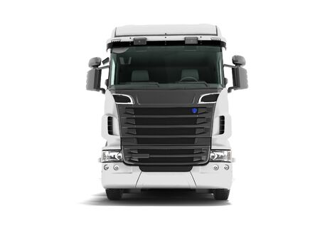 White truck with black inserts with carrying capacity of up to five tons front view 3d render on white background with shadow