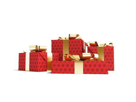 Group of gifts in box in red paper with snowflakes with yellow ribbons 3d render on white background with shadow