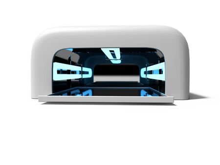 Modern UV lamp for nail art 3d render on white background with shadow