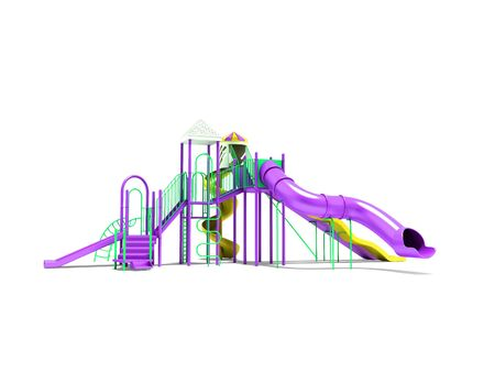Violet playground for children with stairs with yellow spiral slide straight slide 3d render on white background with shadow