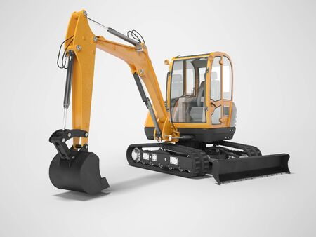 Orange mini excavator with hydraulic mechlopata with leveling bucket in motion 3d render on gray background with shadow