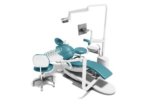 Dental unit blue leather chair of dentist and an assistants chair 3d render on white background with shadow