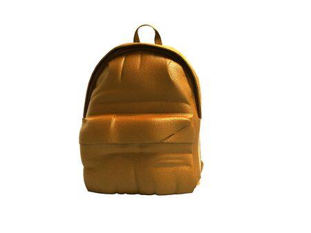 Orange leather teen backpack school 3d render on white background no shadow Stock fotó - 129271775