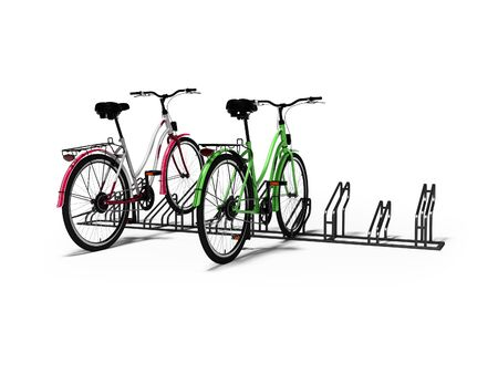 Bicycle parking with two bicycles parked 3d render on white background with shadow