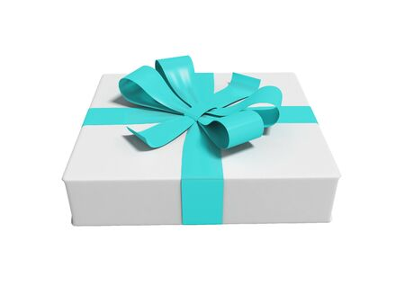 White gift tied with blue ribbon isolated 3d render on white background no shadow
