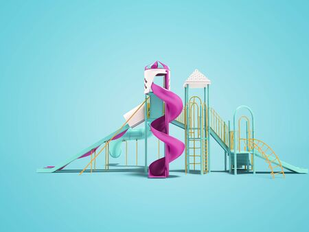 Playground for children with stairs spiral slide straight slide side view 3d render on blue background with shadow Zdjęcie Seryjne
