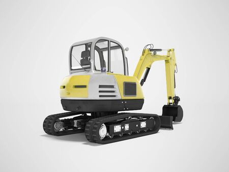 Yellow mini excavator with hydraulic mechpatoy on crawler with ladle 3d render on gray background with shadow