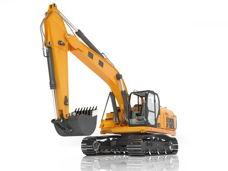Orange single bucket excavator with hydraulic mechpatoy on metal driven track 3D render on white background with shadow