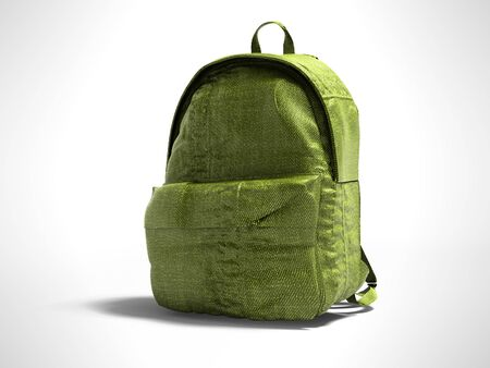 Green koton teen backpack school 3d render on gray background with shadow