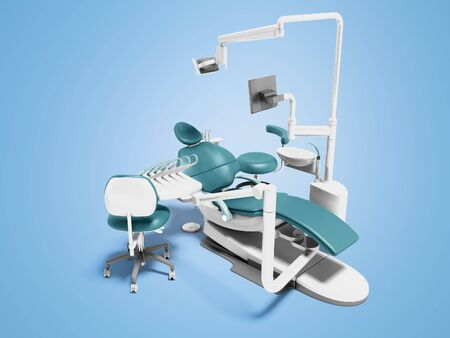 Dental unit blue leather chair of dentist and an assistants chair 3d render on blue background with shadow