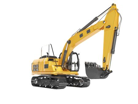 Orange single bucket excavator with hydraulic mechpatoy on tracked metal go isolated 3d render on white background no shadow