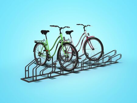 Bicycle parking for ten hairpieces with two hairpieces parked isolated 3d render on blue background with shadow 写真素材