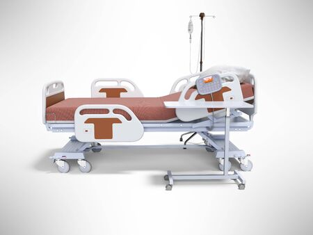 Concept orange hospital bed semi automatic with dropper left view 3d render on gray background with shadow