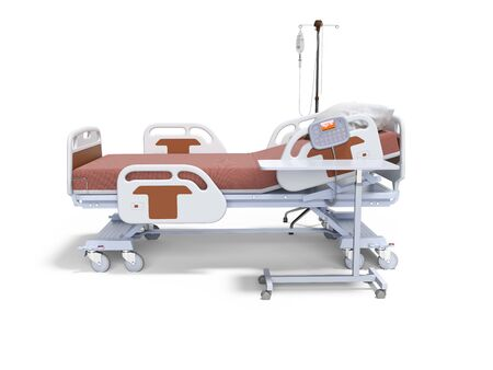 Concept orange hospital bed semi automatic with dropper left view 3d render on white background with shadow