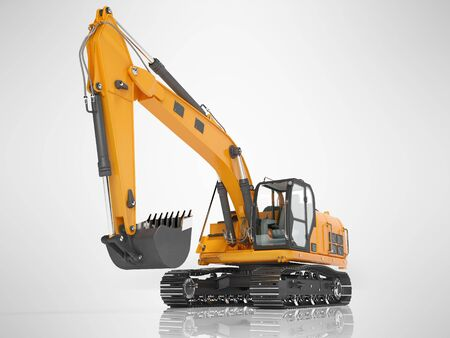 Orange single bucket excavator with hydraulic mechpatoy on metal driven track 3D render on gray background with shadow 写真素材