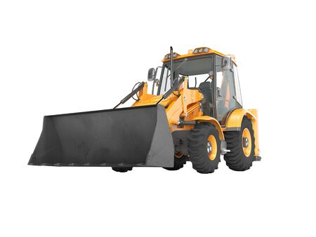 Construction equipment excavator loader with jaw bucket on the basis of tractor front view 3d render on white background no shadow Reklamní fotografie