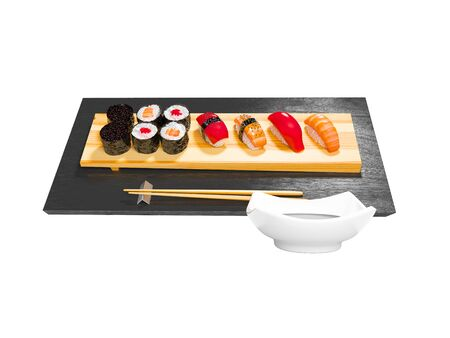 Sushi set on wooden stand with wooden chopsticks and sauce 3d render on white background no shadow Stock Photo - 129410447