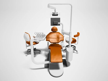 Dental unit orange leather chair of dentist doctor and high chair assistant front view 3d render on gray background with shadow Reklamní fotografie