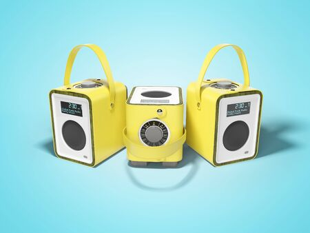 Portable multifunctional column in yellow leather binding 3D render on blue background with shadow
