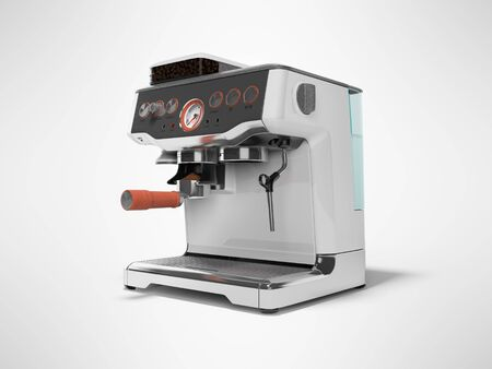 Modern metal horn coffee machine with milk dispenser and coffee tank with water tank 3D render on gray background with shadow