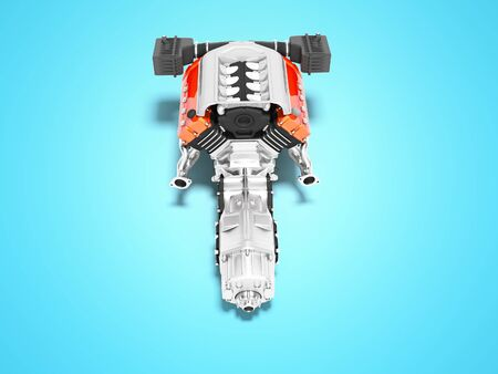 Car motor with air filters collector and gearbox top view 3d render on blue background with shadow