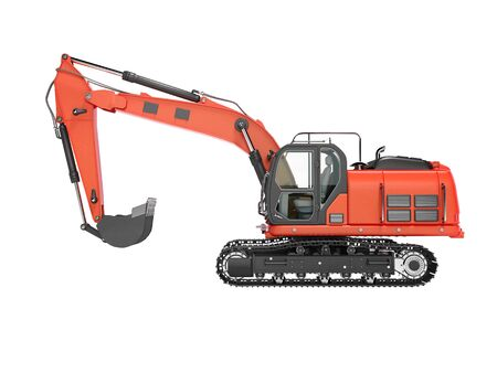 Road building red excavator on metal caterpillar track left side view 3d render on white background no shadow