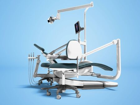 Dental unit and equipment for the office chair of the dentist and assistant assistants high chair 3d render on blue background with shadow