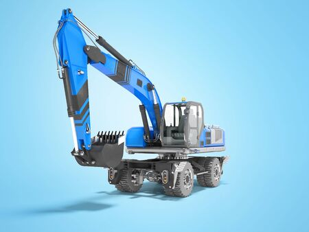 Blue excavator loader wheel isolated 3D render on blue background with shadow Stock fotó