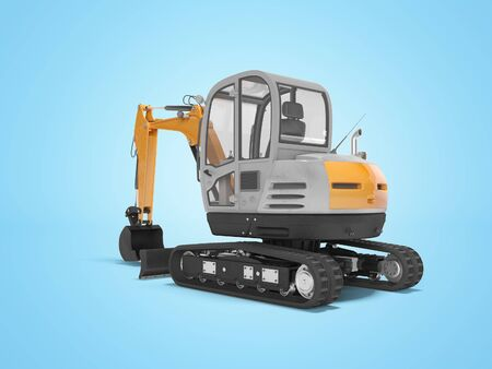 Orange mini excavator with hydraulic crawler mehlopatoy with bucket rear view 3d render on blue background with shadow