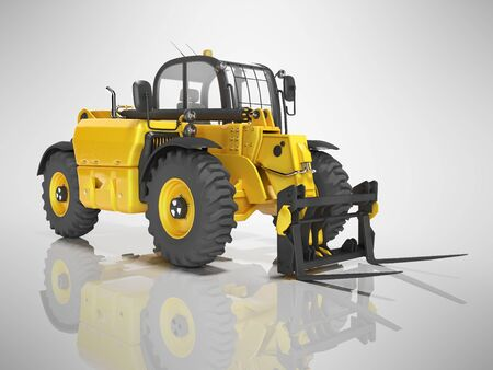 Yellow excavator telescopic loader isolated 3D render on gray background with shadow Фото со стока