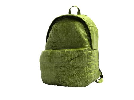 Green koton teen backpack school 3d render on white background no shadow