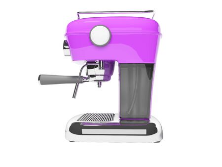 Modern purple horn coffee machine left view with water tank 3D render on white background no shadow